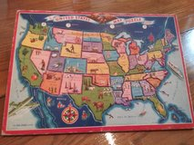 Vintage 1940's Board Puzzle of the USA in Elgin, Illinois