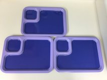 3 purple kids cafeteria style trays in Okinawa, Japan