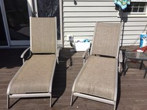 Patio two chaise lounge chairs and side table in Glendale Heights, Illinois