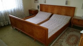 Kingsize Antique Cherrywood Bed with Two Matching Nightstands in Ramstein, Germany