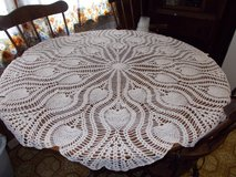 hand crocheted round tablecloth in Fort Leavenworth, Kansas