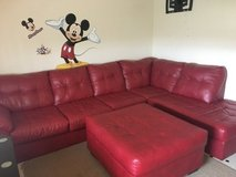 Red leather couch in Okinawa, Japan