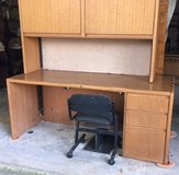 nice home office desk combo, very, very heavy, with upper bookcase and closing doors. in Kingwood, Texas