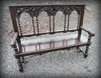 very rare Renaissance style bench with 3 dimensional carvings in Ramstein, Germany