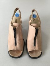 SIZE 7.5 Blush and black Color Suade Sandal Heel Shoe in Lockport, Illinois