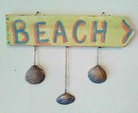 """Hanging """"Beach"""" Arrow Sign with Matching Shells in Wilmington, North Carolina"""