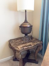 2 solid marble end tables and iron lamp in Gordon, Georgia