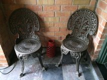 (2) Vintage Heavy Wrought Iron Patio Chairs in Kingwood, Texas