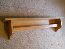 QUILT RACK, wall mounted with shelf, solid oak in Kingwood, Texas