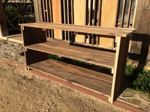 Wood shoe bench in Yucca Valley, California