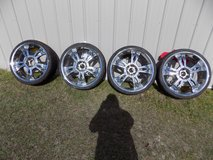 "(4) 22"" Matching Custom Chrome Rims with Tires in Sanford, North Carolina"