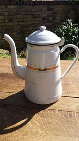 Gold trim White Enameled coffee pot in Ramstein, Germany