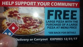 Dominos FREE pizza card. ONLY 3 LEFT in Beaufort, South Carolina
