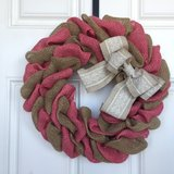 Pink Swirl Burlap Wreath - New Low Price in Beaufort, South Carolina
