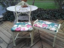 Vintage shabby chic petite chair with roses fabric in Plainfield, Illinois