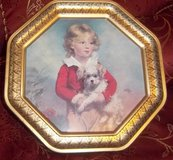 "Vintage 12"" decorative tin octagon picture of a little boy and his dog in Alamogordo, New Mexico"