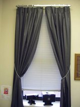 Charcoal Gray Chintz Finish Washable Pinch Pleated Drapes 90 Long Pair- Made in USA in Wilmington, North Carolina