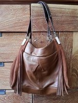 B. Makowsky fringe real leather purse, brown in MacDill AFB, FL