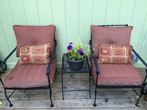 2 Iron Chairs and Cushions in Elgin, Illinois