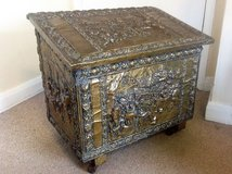 Vintage Brass Covered Wooden Fireside Storage/Log Box in Lakenheath, UK
