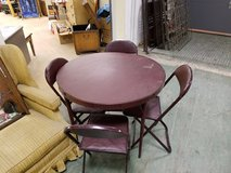 5 pc Mid Century Modern Round Card table & 4 folding chairs in Naperville, Illinois