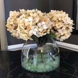 Clear Vase with Artificial Hydrangea Flowers in Naperville, Illinois