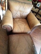Brown Leather Chair and Ottoman in Vacaville, California