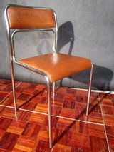 Two Brown and Two Black Chrome Framed Leather Chairs in Ramstein, Germany