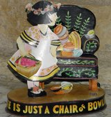 "1998 Mary Engelbreit ""Just A Chair of Bowlies"" Bobble Metal Art in Palatine, Illinois"