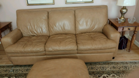 BASSETT GENUINE LEATHER SOFA WITH OTTOMAN 87 inches long, Beige color, Smoke free home, EXCELLEN... in Eglin AFB, Florida