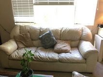 Off white leather couch with queen hidabed and loveseat in Temecula, California