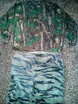 MULTICAM TROUSERS COMBAT X LARGE MILITARY ACU CAMO PANTS & JERSEY XXL - used in Camp Lejeune, North Carolina