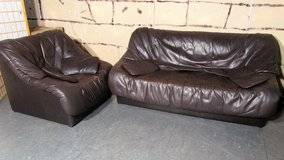 Leather Couch and Loveseat with 4 Small Pillows in Ramstein, Germany