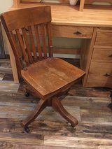 Amish hand made hickory desk with antique chair in Morris, Illinois