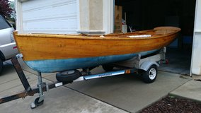 13ft.  CAT'S PAW ALL WOOD HANDCRAFTED SAIL/ROW/MOTOR BOAT w/TRAILER in Sacramento, California