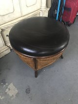 Leather and wicker Round Storage Ottoman in Fairfield, California
