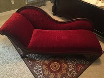Antique chaise red velvet couch in Kingwood, Texas