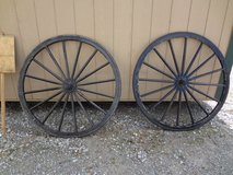 Vintage Carriage Wheels. wooden w/steel bands in Fort Campbell, Kentucky