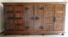 Hand Made One of a Kind Spanish Style Solid Wood Wall Unit with Lighted Bar 340 cm long in Ramstein, Germany