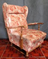 Antique Reading Chair with Walnut Trim and a Nice Red and White Pattern in Ramstein, Germany
