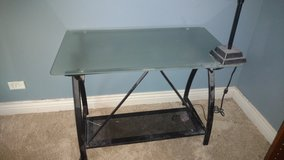 Contemporary Black Desk with Glass Top in Lockport, Illinois