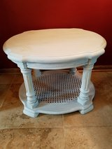 Vintage oval end table with cane bottom in Glendale Heights, Illinois