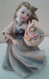 Lefton China Girl Holding Flower Basket Figurine in Conroe, Texas
