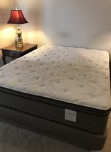 Queen Bed Mattress Firm Pillow Top  with Base in Bartlett, Illinois