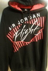 Nike Air Jordan Flight black fleece red white embroidered jumpman logo hoodie in Hinesville, Georgia