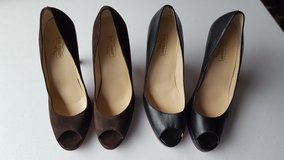 Black (leather look) & Brown (suede) Peep Toe Pumps in Cherry Point, North Carolina