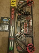 Hunter 45lb to 60lb compound bow, velocity gold tip arrows (6), 3 pack tips all brand new never ... in Hinesville, Georgia