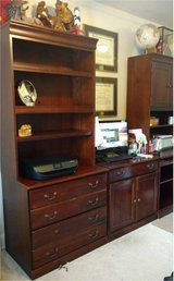 Red Cherry Office Desk Hutch Drawers and Shelves in Wright-Patterson AFB, Ohio