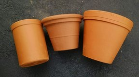 3 New Large Clay Plant Pots - various sizes planters for plants in Bartlett, Illinois