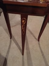 inlayed side table with music box inside in Aurora, Illinois